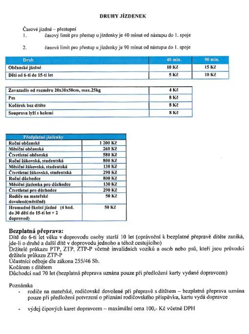 Ceník MHD platný od 1. 1. 2014
