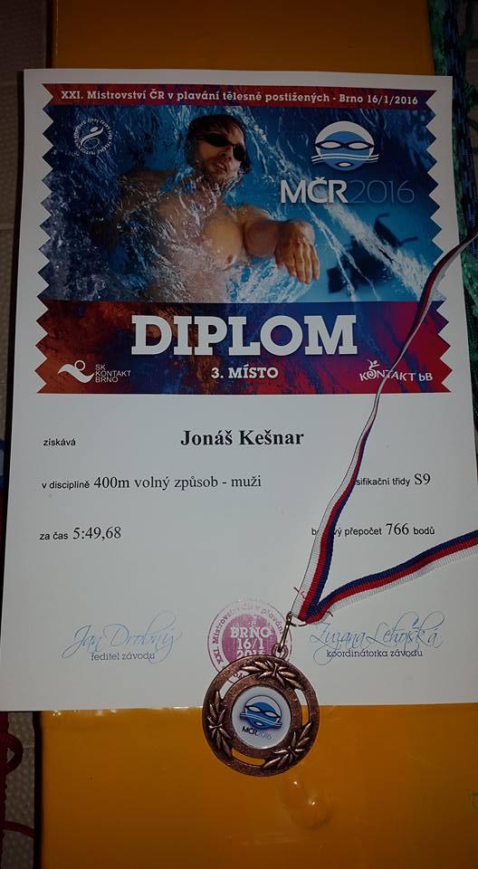 Kapr Jonáš Kešnar má z mistrovství ČR dva bronzy