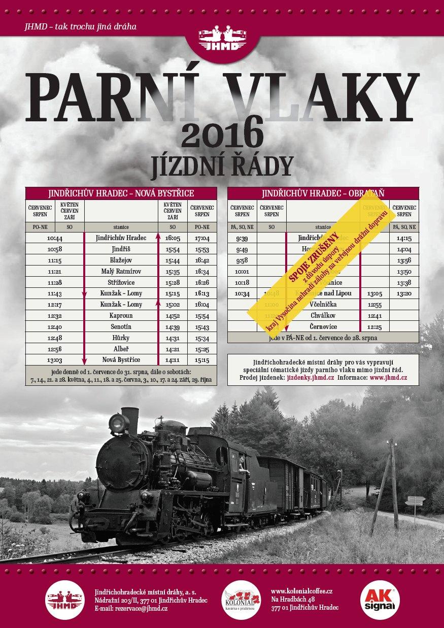 Parní vlaky na Vysočinu letos nevyjedou