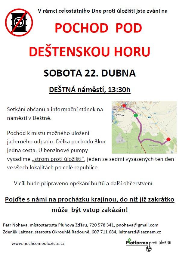 """Letošní pochod """"Den proti úložišti"""" povede pod Deštenskou horu"""