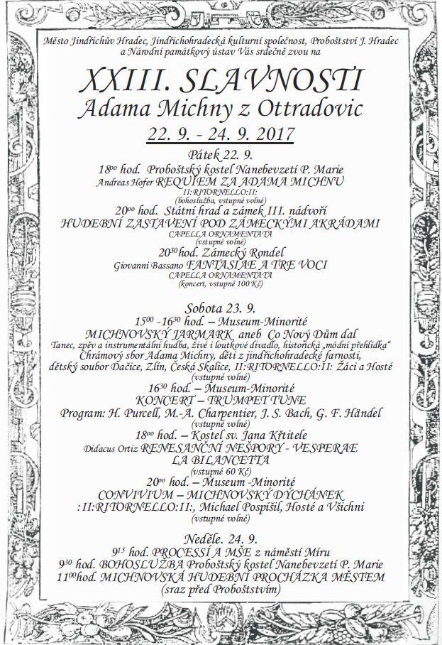 XXIII. Slavnosti Adama Michny z Otradovic