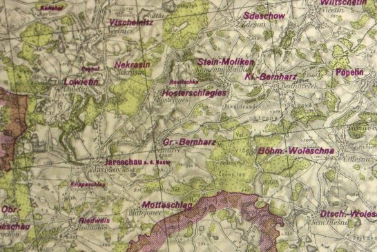 Mapa ztrudného období 20. století ve sbírce Muzea Jindřichohradecka
