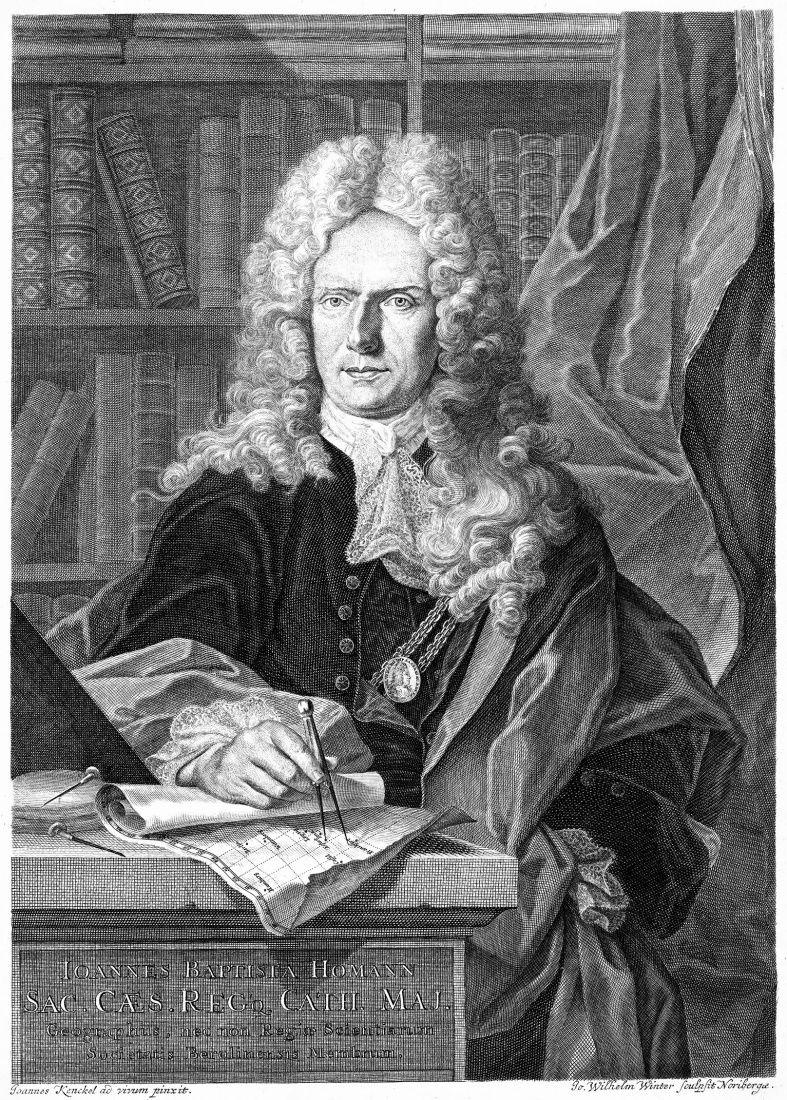 Autor atlasu, císařský geograf Karla VI. Johann Baptist Homann (1664 - 1724)