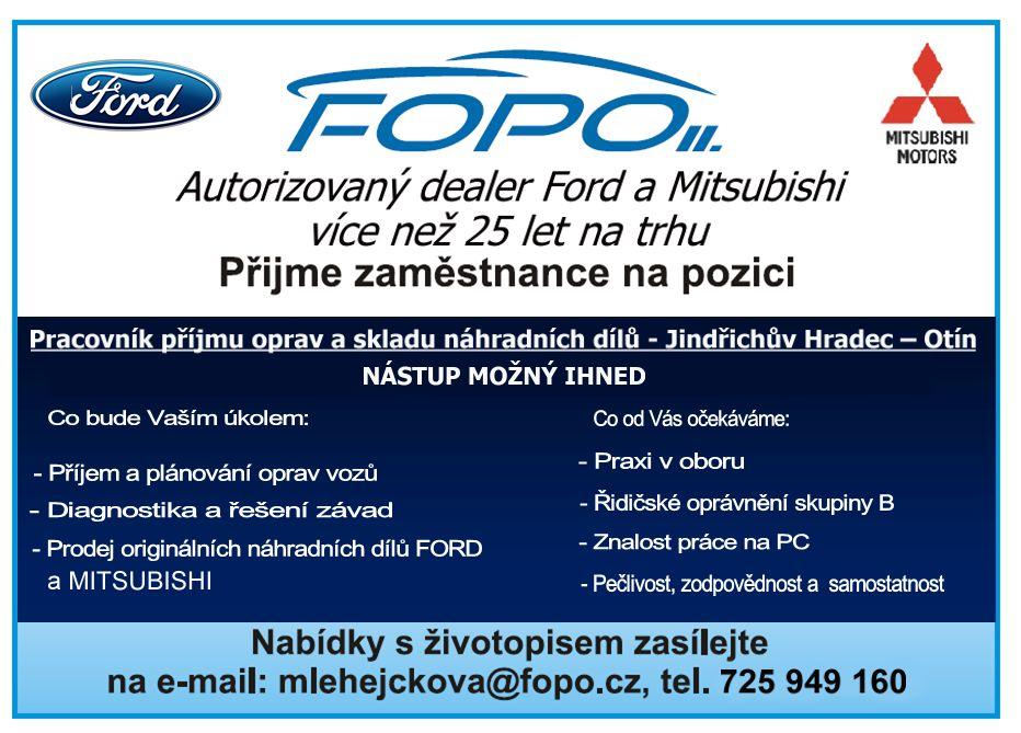 FOPO II přijme zaměstnance na pozici: Pracovník příjmu oprav a skladu náhradních dílů