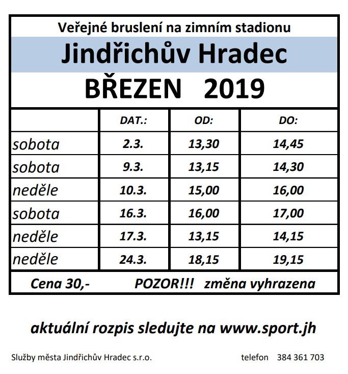 Veřejné bruslení - zimní stadion Jana Marka - Jindřichův Hradec