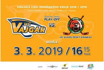 Hokejové play-off je tady: HC Vajgar vyzve v odvetě Slavoj Český Krumlov