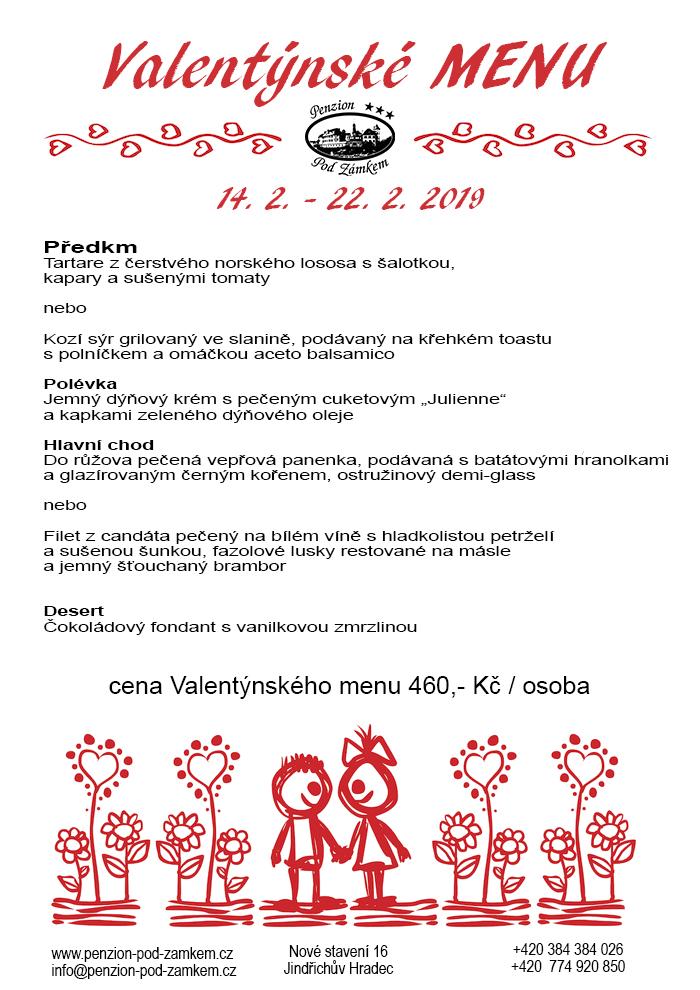 Valentýnské menu v restauraci Pod Zámkem