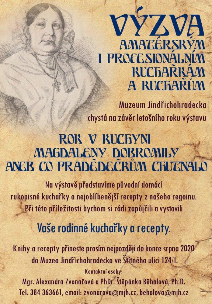 Výzva amatérským i profesionálním kuchařkám z Muzea Jindřichohradecka