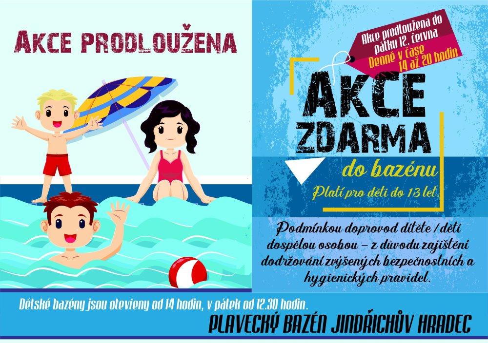 Vstup zdarma do bazénu pro děti do 13 let je prodloužen!