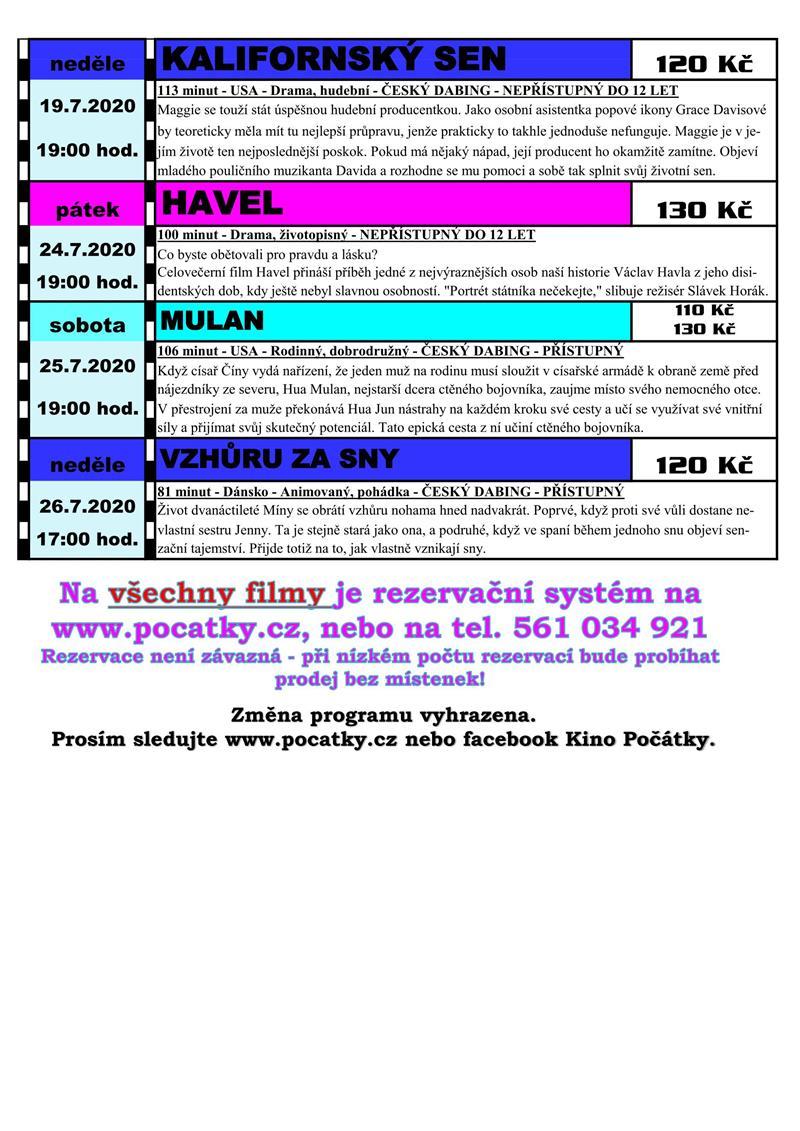 Kino Počátky na červenec 2020