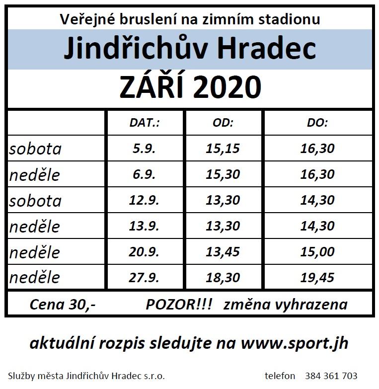 Veřejné bruslení – zimní stadion Jana Marka (září 2020)
